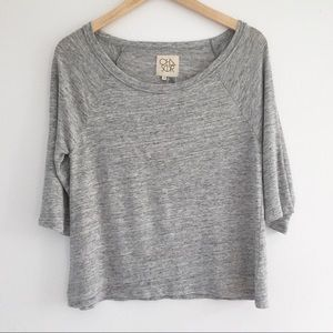 Chaser Gray Linen Short Sleeve Tee Shirt, Small